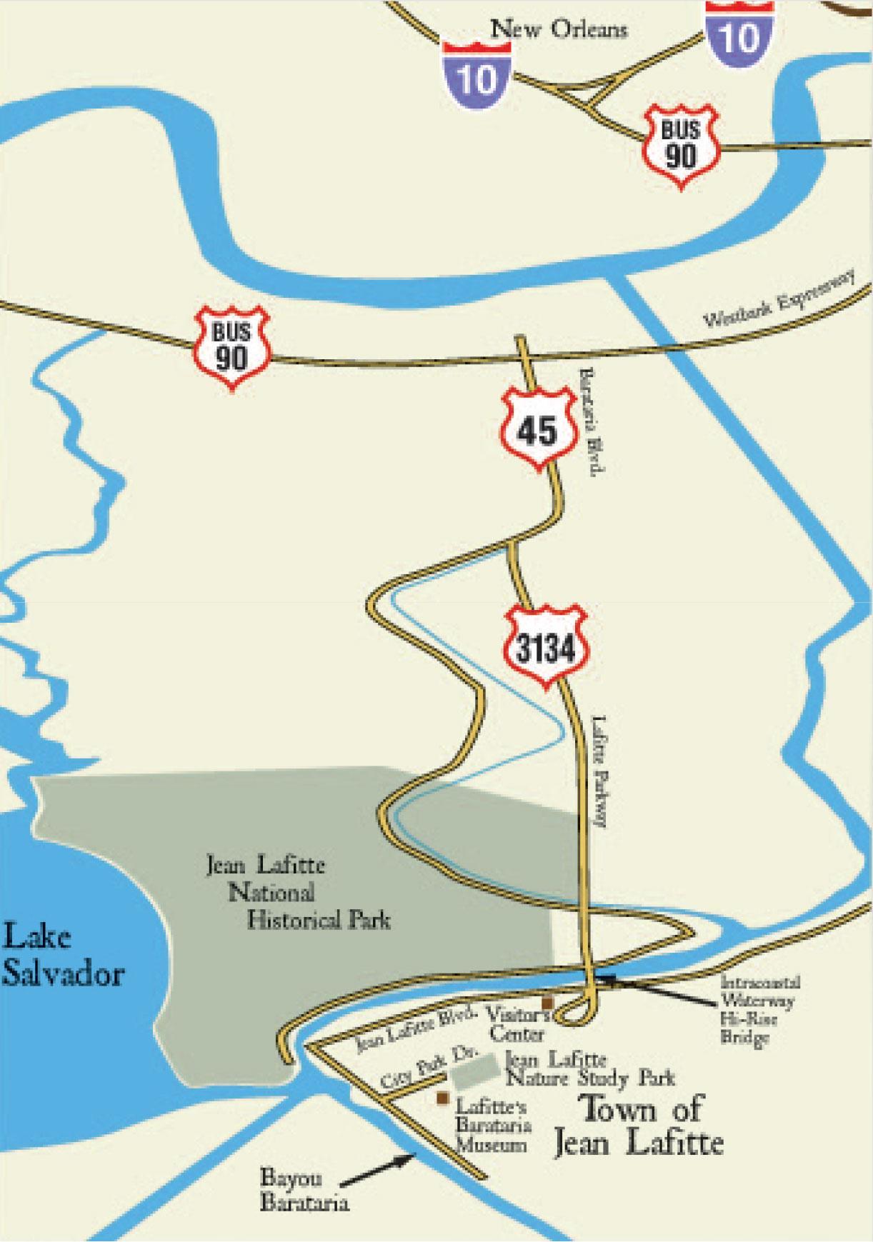 map to Jean Lafitte